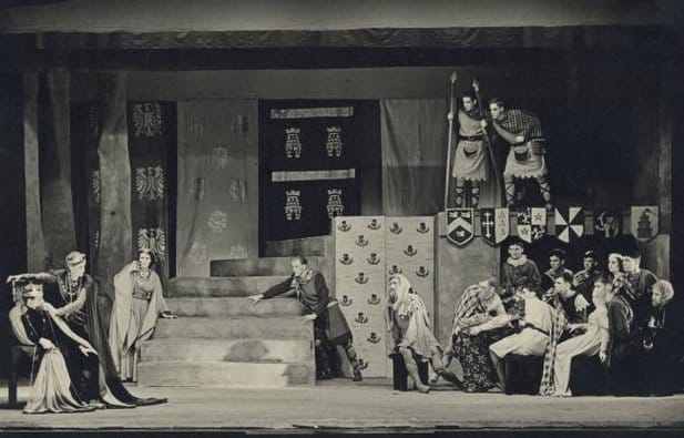 A photo of a scene from a Canterbury University production of Henry V at the Little Theatre, Canterbury College.
