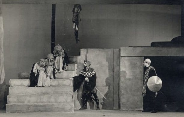Scene from Canterbury University production of Macbeth by William Shakespeare directed by Ngaio Marsh.
